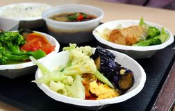 Chinese Lunch Set Menu. A Chinese lunch set with beef stew and assorted vegetables Stock Images