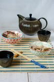 Chinese lunch set with rice and duck meat, tea Royalty Free Stock Photography