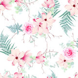 Chinese magnolia, roses and fern seamless vector pattern Royalty Free Stock Image