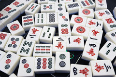 Chinese mahjong. On the table royalty free stock photos