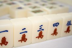 Chinese mahjong tiles. Tiles used in mahjong games popular among chinese Royalty Free Stock Photography