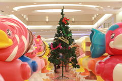 Chinese mall Christmas tree. Large shopping malls decorated in celebration of Christmas Stock Photos