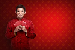Chinese man in cheongsam suit Royalty Free Stock Photo