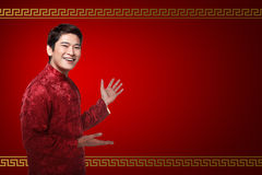 Chinese man in cheongsam suit Stock Photography