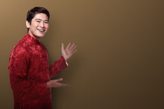 Chinese man in cheongsam suit Royalty Free Stock Photography
