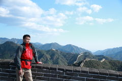 A Chinese man on China Badaling Great Wall Royalty Free Stock Images
