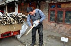 Chinese Man Cutting Sugar Cane Royalty Free Stock Photo