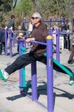 Chinese man exercising Stock Image