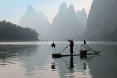 Chinese man fishing with cormorants birds Stock Image