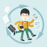 Chinese man with multitasking job Royalty Free Stock Photography