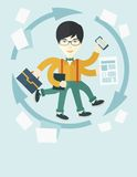Chinese man with multitasking job Stock Images
