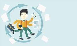 Chinese man with multitasking job Royalty Free Stock Images