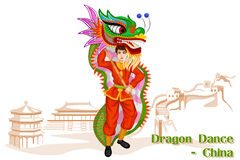 Chinese Man performing Dragon dance of China Stock Photography
