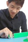 Chinese man play Mahjong Royalty Free Stock Images