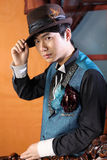 Chinese man in retro style Stock Images