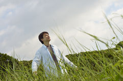 Chinese man smiling in nature Royalty Free Stock Photos
