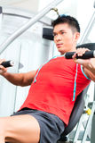 Chinese Man training strength in fitness gym Royalty Free Stock Photography
