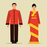 Chinese man and a woman in national costume Stock Photo