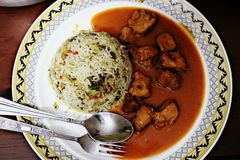 Chinese Manchurian With Rice stock photography