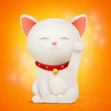 Chinese Maneki Neko lucky cat cartoon character. Vector illustration Stock Photography