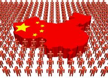 Chinese map flag with many peopl Royalty Free Stock Photography