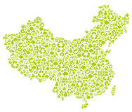 Chinese Map Made Of Ecology Icons Royalty Free Stock Photos
