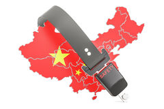 Chinese map with safety belt. Security and protect or insurance Stock Photography