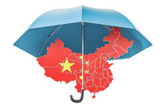 Chinese map under umbrella. Security and protect or insurance co. Ncept, 3D rendering isolated on white background Stock Photo