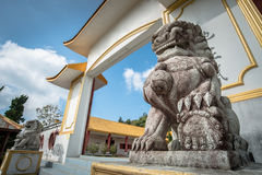Chinese marble lion decoration in front oChinese Martyrs` Memorial Museum on Doi Mae Salong of Chiang Rai province of Thailand. Chinese Martyrs` Memorial Museum royalty free stock photography