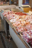 Chinese market. Frozen chicken and meat royalty free stock photography
