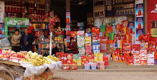 Chinese Market. A traditional market stall in rural Stock Photos