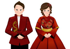 Chinese marriage wedding cartoon in modern chinese dress. Chinese marriage wedding cartoon in modern dress ceremony. bride and groom stand beside each other Stock Photography