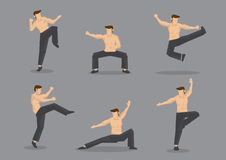 Chinese Martial Arts Fighter Vector Character Illustration. Set of six vector cartoon character of muscular topless man in various poses of Chinese style martial Royalty Free Stock Photography