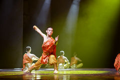 The chinese martial arts monks in practice Stock Photos