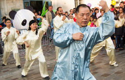 Chinese martial arts on Moon festival at Paris Royalty Free Stock Photo