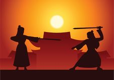 Chinese martial hero train fight each other front of ancient Chi. Nese house on sunset time,silhouette style Stock Photos