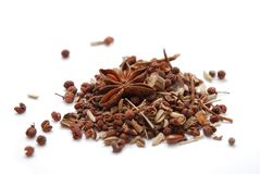 Chinese Master Spice. Chinese spice mixture on white background Royalty Free Stock Photos