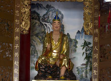 Chinese master statue. Ancient chinese buddhist master statue in temple Royalty Free Stock Photography