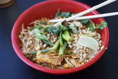 Chinese Meal. Delicious Asian Chinese Meal, pad thai noodels and chicken royalty free stock photography