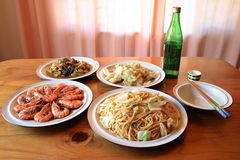 Chinese meal. A table full of chinese dishes Stock Photography