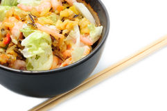 Chinese meal. Healthy food - rice, shrimps and vegetables in bowl Stock Images