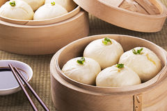 Chinese meal of baozi also known as dim sun. Traditional Chinese meal of baozi also known as dim sun with soy sauce Royalty Free Stock Photo