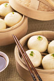 Chinese meal of baozi also known as dim sun. Traditional Chinese meal of baozi also known as dim sun with soy sauce Stock Images