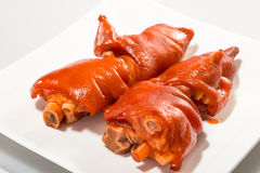 Chinese meat - lucky Braised Pig Feet in Brown Sauce Stock Photos