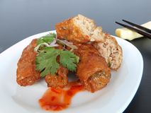 Chinese Meat & Prawn Roll. Delicious Meat & Prawn Roll, also known as Ngoh Hiang in Singapore Royalty Free Stock Photo