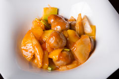 Chinese meatballs with fruits Stock Photography