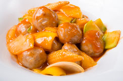 Chinese meatballs with fruits Stock Images