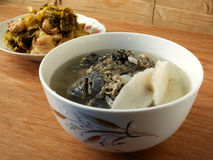 Chinese medical diet. Silky fowl yam soup Stock Images
