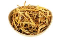 Chinese medical herb : A bowl of Dried Lily Buds Stock Photos