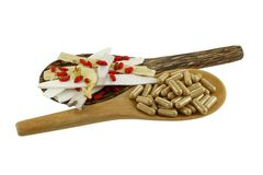 Chinese medical herb and Natural herbal capsules Stock Photography